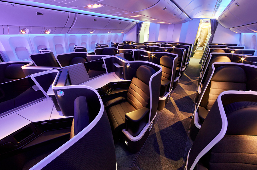 Business Class an Bord einer Maschine von Virgin Australia