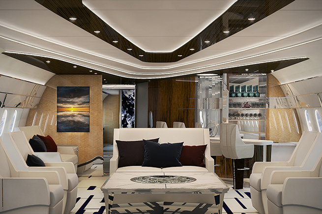 Privatjet mit luxuriöser VIP-Lounge