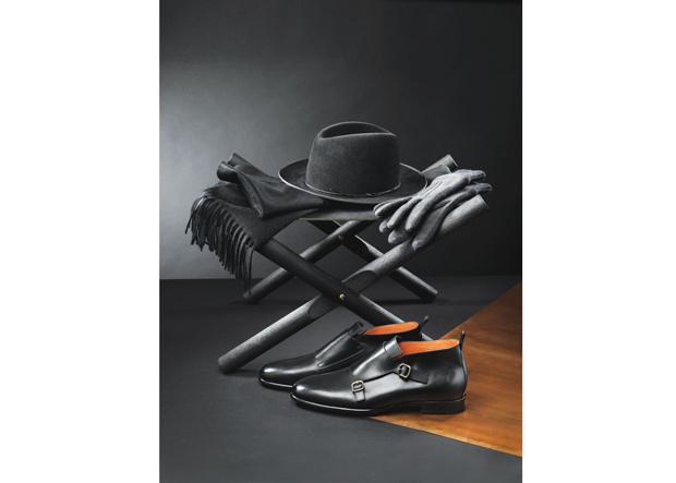 Hut von Flamekeepers Hat Club, Handschuhe von Tod's, Schal von Berg & Co, Halbschuh von Santoni