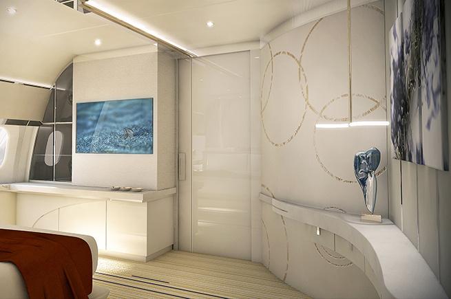 Innenraum des Boeing Dreamliner Privatjets